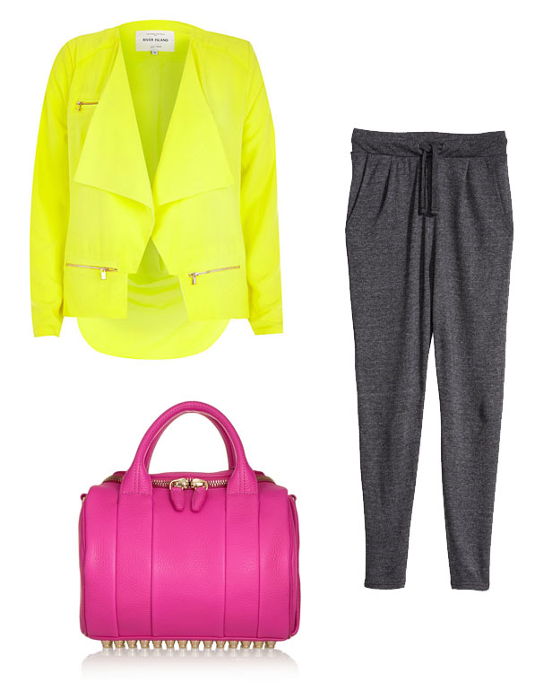 alexander_wang_pink_bag_river_island_neon_jacket_loose_pants_hm
