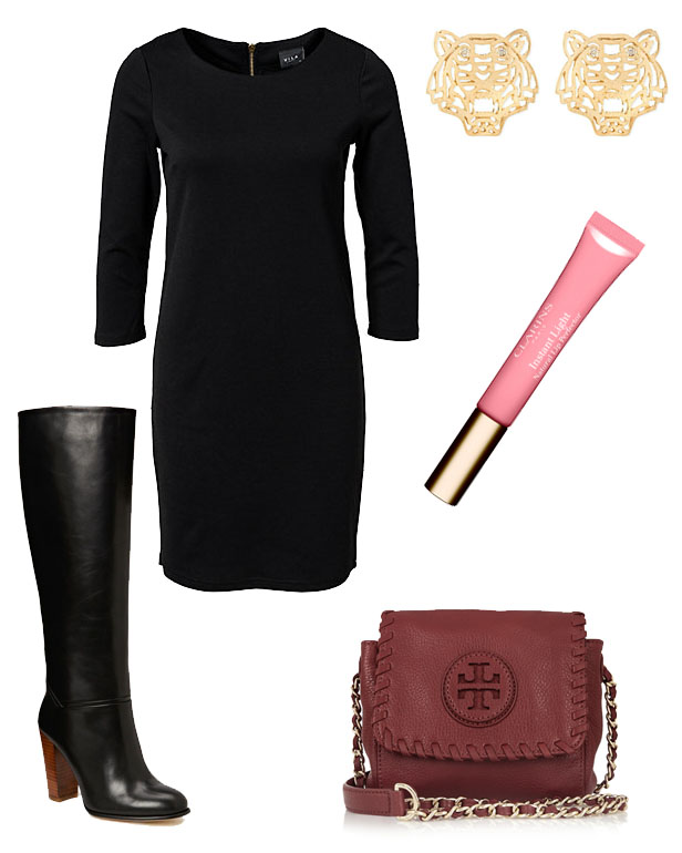 tory_burch_bag_swift_dress_knee_high_boots_kenzo_tiger_earrings_clarins_lipgloss