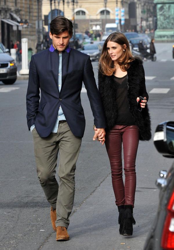 burgundy jeans - Olivia Palermo
