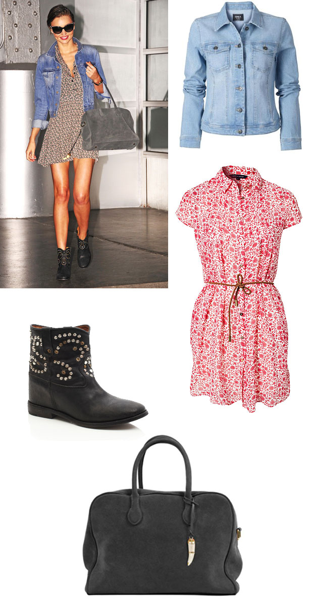 miranda_kerr_floral_dress_jeans_jacket_caleen_studded_boots_pierre_balmain_bag