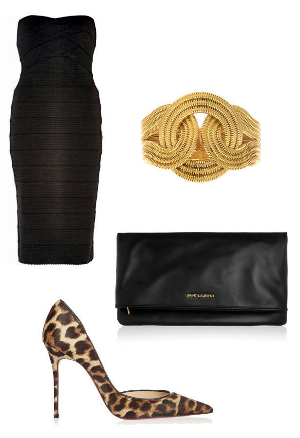 bondage_dress_lara_bohinc_bracelet_saint_laurent_clutch_louboutin_leopard_pumps