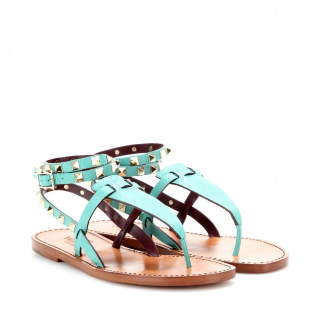 Rockstud-double-leather-sandals--turquoise-valentino