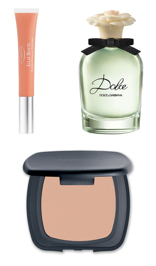 beauty_essentials_spring_ss14_dolce_gabbana_dolce_clarins_instant-light_lip_bareminerals_ready_foundation