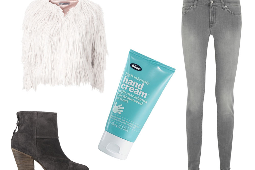 fake-fur-jacket-grey_skinny_jeans_newbury_boots_bliss_handcream gina tricot, rag and bone