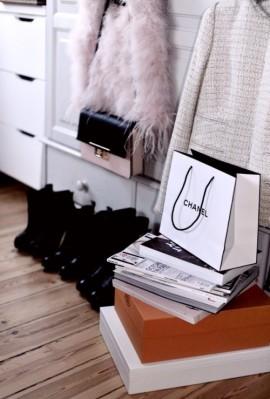 inspiration, interior design, chanel bag, furry jacket, black boots, tweed jacket