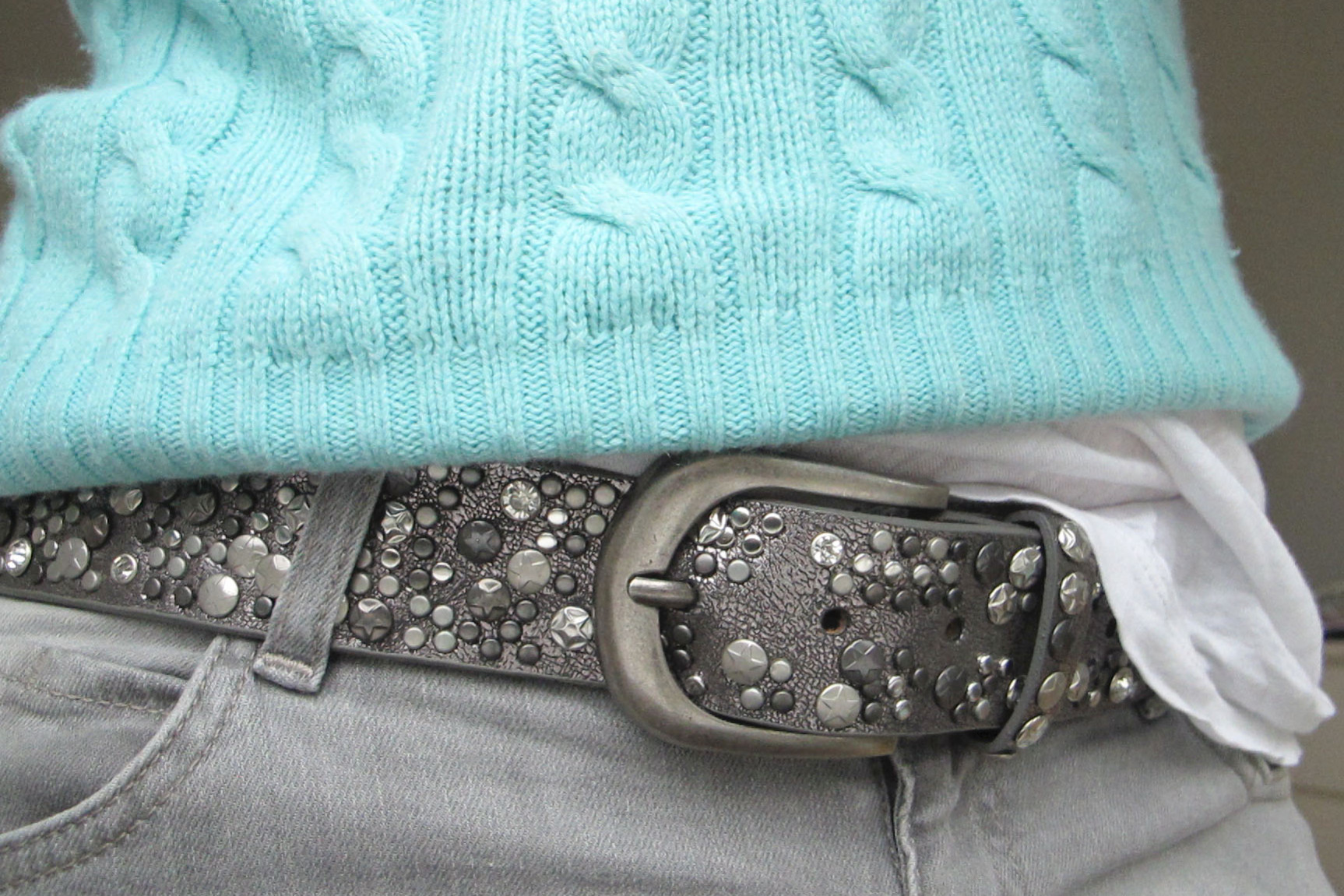 j crew, cashmere, cable knit, mint green, belt, cat & co, grey, stones, studs