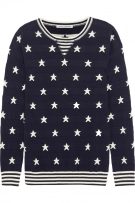 autumn cashmere sweater, stars, blue white