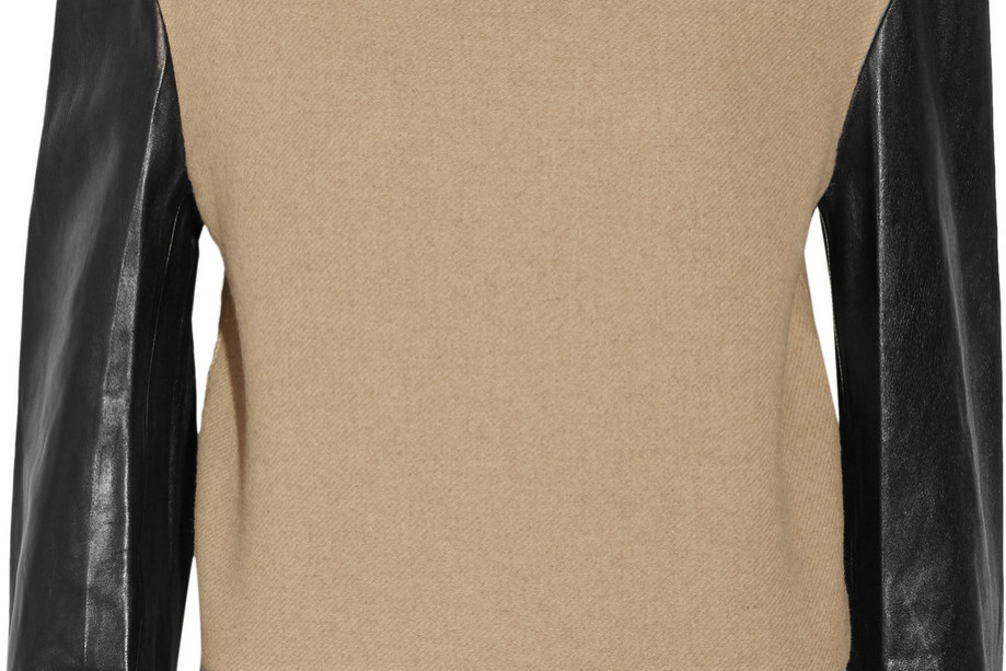 Leather-sleeved wool-blend sweater from Phillip Lim on sale