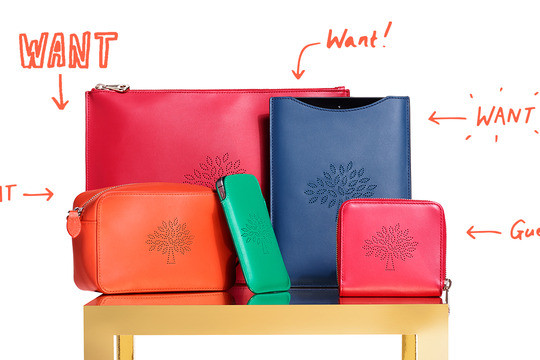 Mulberry Blossom collection, ipad sleeve, crossover bag, wallet, iphone case, in bold colours