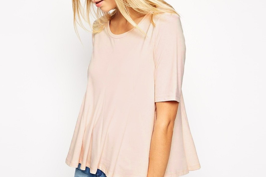 blush, pink, pleated, peplum, top, asos