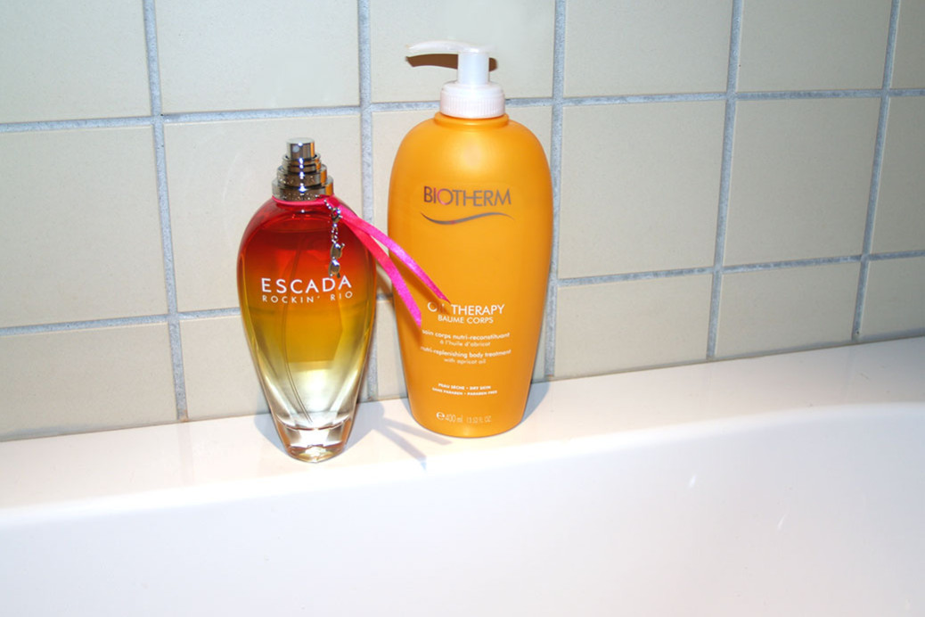 beauty partners biotherm oil therapy body lotion and escada summer scent rockin rio