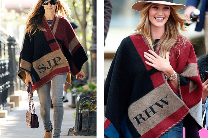 burberry colour block checked blanketponcho sarah jessica parker, rosie huntington whiteley
