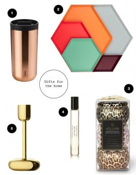Gift guide for the home: hay trays, stelton mug, iittala lightholder, byredo perfume, voluspa fragrance candles
