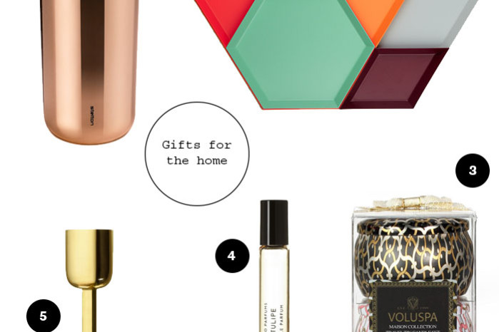 Gift guide for the home: hay trays, stelton mug, iittala lightholder, byredo perfume, voluspa fragrance candles