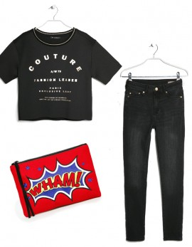 how to style_highwaisted-jeans-with boxy top, wham cosmetics case, mango