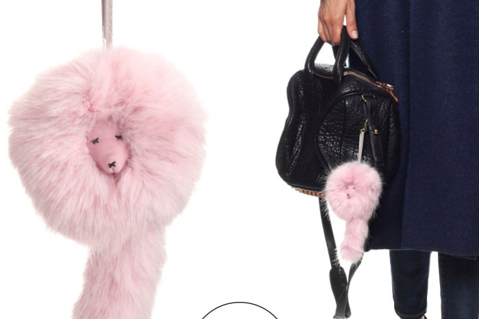 A pink furry keyring to hang on your bag