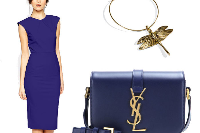 Blue classic dress with Saint Laurent monogramme universite bag and gold dragonfly necklace from ioaku