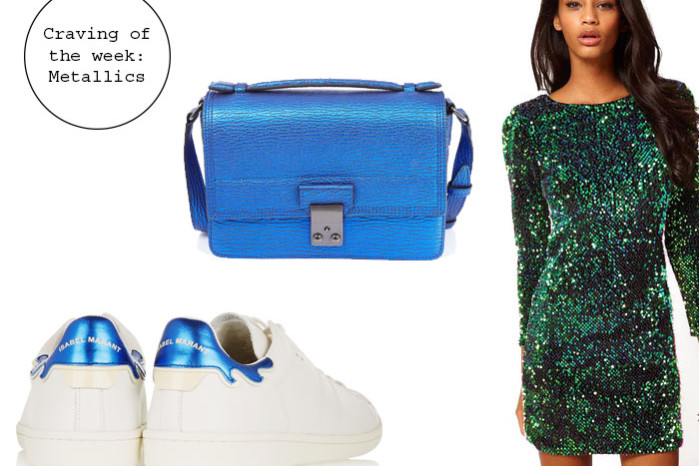 Craving for blue metallics: sequin dress from Sheinside, 3.1 Phillip Lim Bag and Isabel Marant sneakers
