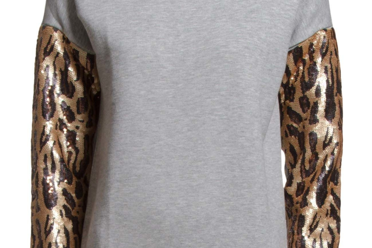 Boss Orange Terleo Medium Grey sweatshirt with leopard sequin arms