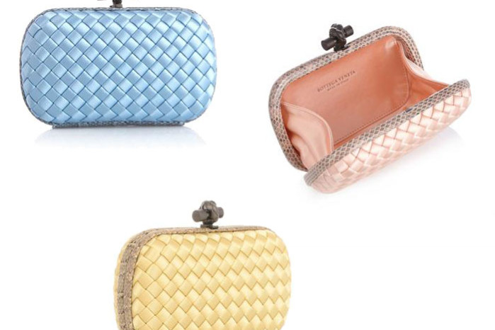 bottega veneta knot satin and watersnake clutch cruise collection