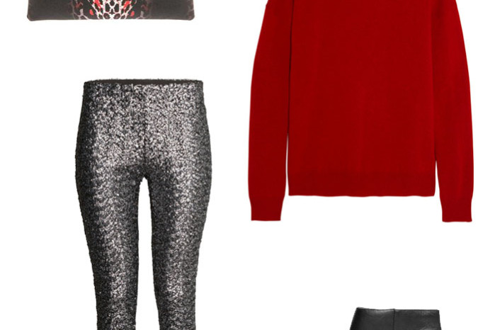Holiday outfit with hm sequin pants alexander mcqueen leopard clutch theory cashmere red sweater mango leather boots