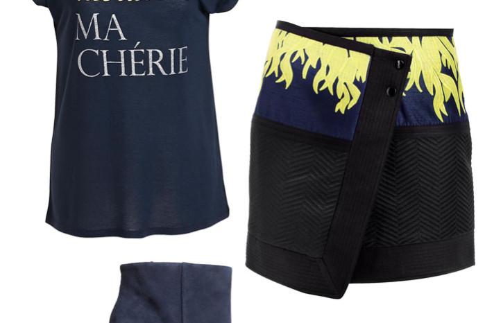 Oui Ma Cherie T-shirt från Lindex, kjol från Cameo och blå mockaboots från HM