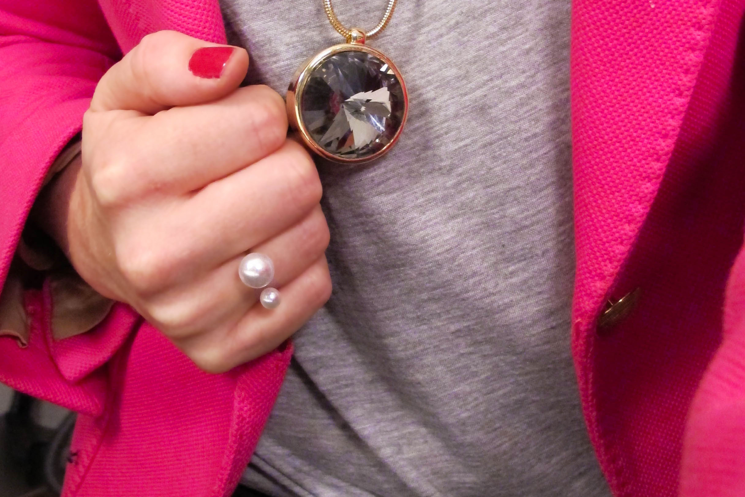 Hot pink blazer with Zen Amulet necklace and double pearl ring from Tiffanys Darlings