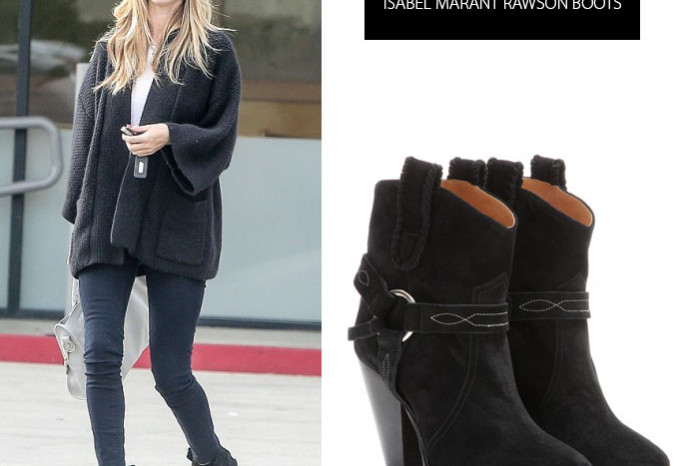 Rosie Huntington-Whiteley in Rawson cowboy boots by Isabel Marant