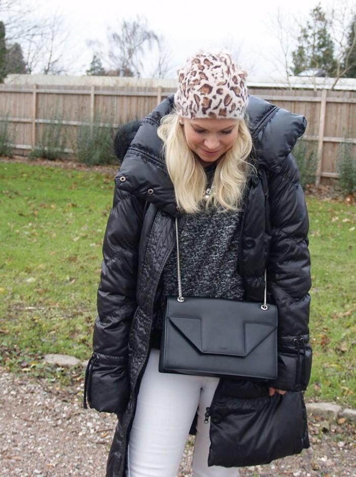 Saint Laurent Betty bag in medium, sweater in grey melange, down puffer