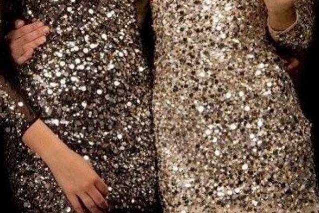 Sequin dresses, friends