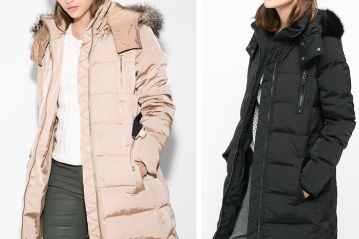 Black and beige down coat from Mango now on sale