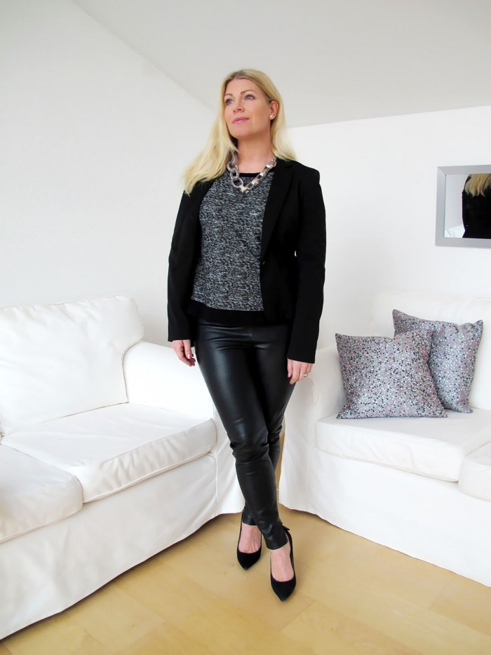 Grey melange sweater with faux leather leggings and a blazer