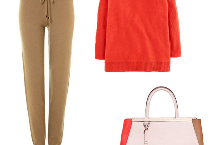 Fendi 2jours color block leather bag with a bright red cashmere sweater and knitted pants from Michael Kors