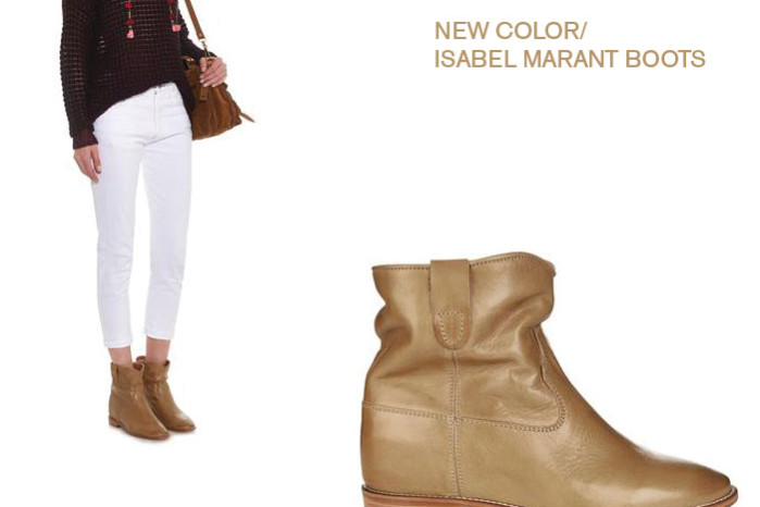 Isabel Marant cluster boots with concealed wedge in tan leather