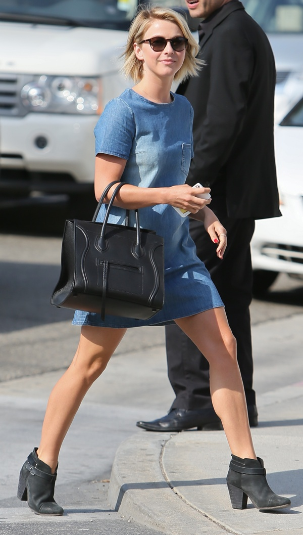 Julianne Hough in rag & bone black harrow booties