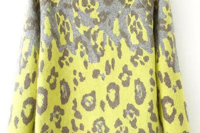 Yellow leopard sweater with grey and beige from Sheinside