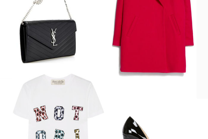 Red Mango coat with a Notorious tee from Etre Cecile, Christian Louboutin patent pumps and a Saint Laurent bag