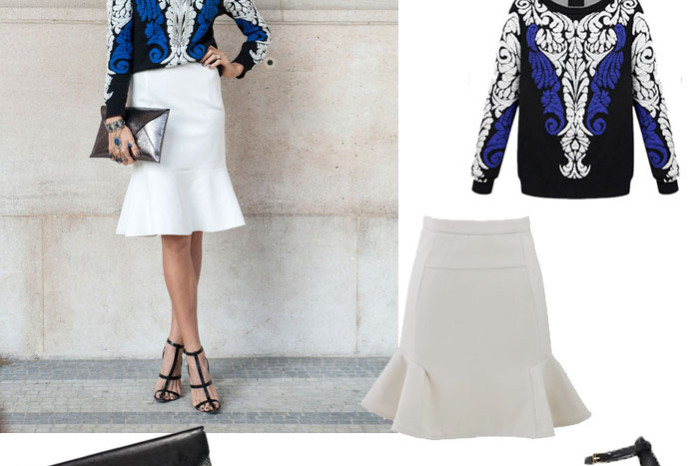 Shop the look: embroidered knit, white skater skirt, clutch and cat eyes sunglasses