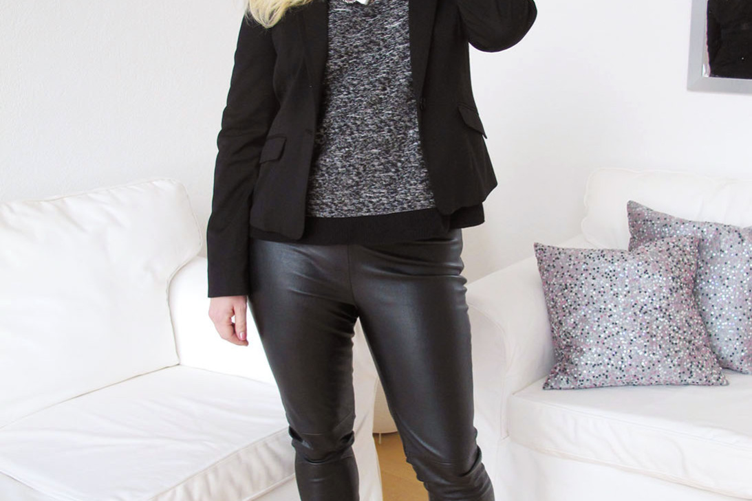 Black suede pumps with faux leather leggings and link of life necklace from ioaku