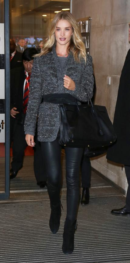 Rosie Huntington-Whiteley in embellished wool coat