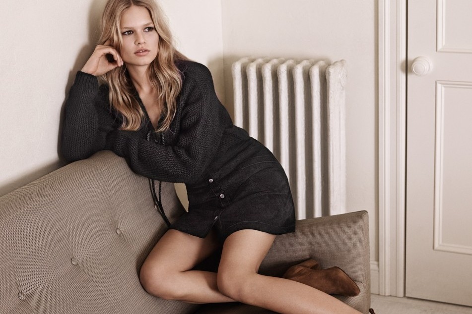 Anna Ewers for MAngo spring 15 in leather skirt and suede boots