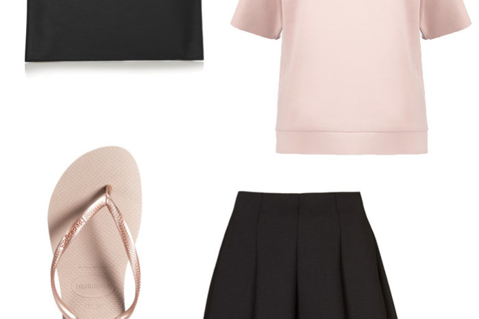 Blush and black bag by Victoria Beckham, Scuba skater skirt, blush top and rose gold havaianas