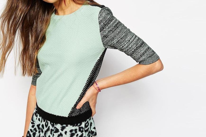 Mint green jumper from Maison Scotch