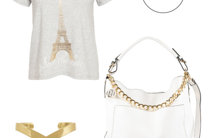 White bag with gold chain, golden bracelet and t-shirt with Eiffel Tower in gold