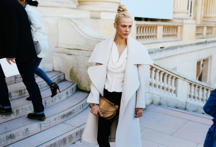 aymeline valade at pfw in a white coat