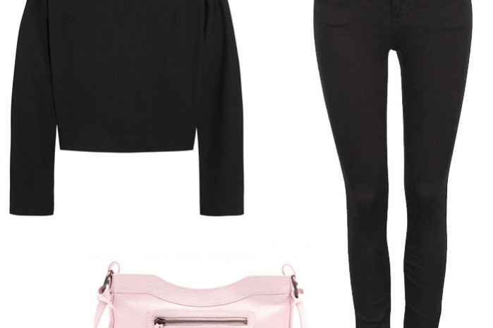 Carven floral applique sweatshirt, high waist jeans from cubus and a pink balenciaga crossover clutch