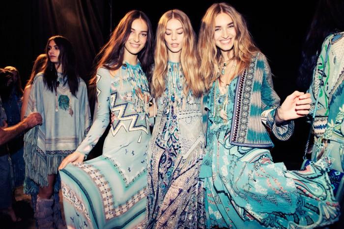 etro rtw ss 2015 backstage blue dresses