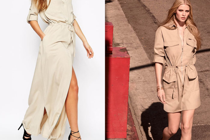 Nude and beige shades, utility dresses from HM and Mango