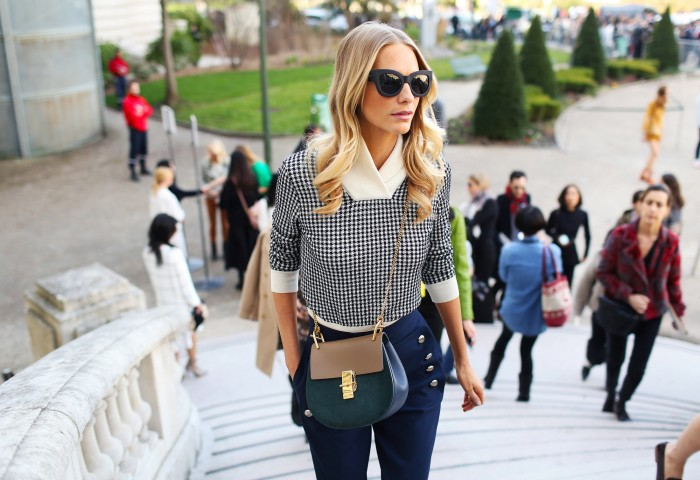 polly delevingne at pfw in a chloe bag