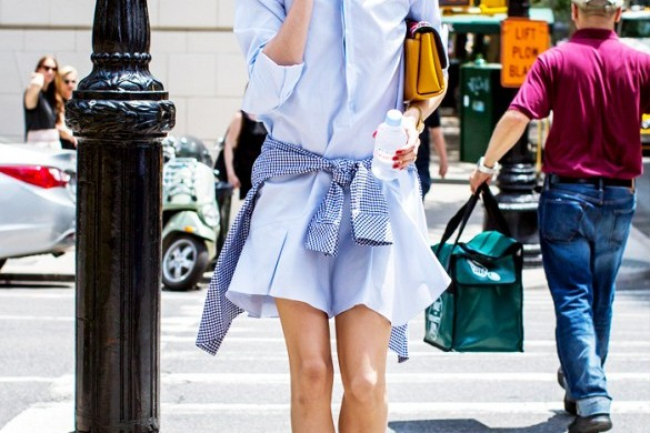 olivia palermo in blue shirtdress